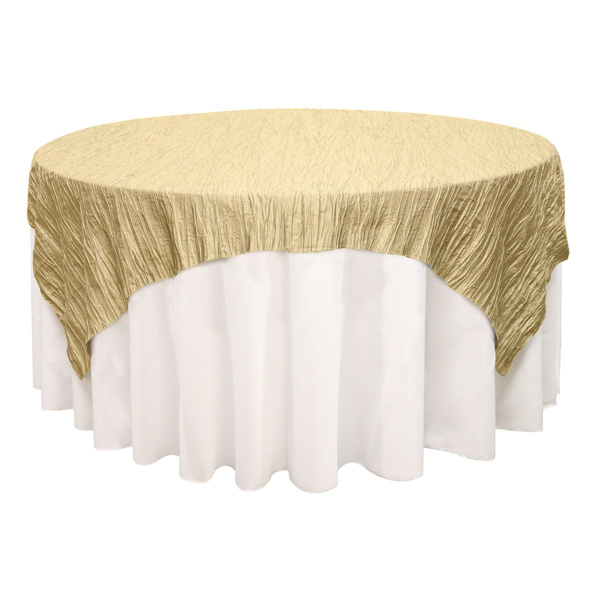 72 Inch Square Crinkle Taffeta Table Overlay Champagne Table Overlays Wedding Table Overlays Wedding Tablecloths