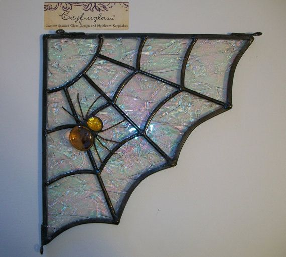 Stained Glass Spider Web Corner Transom Halloween Decoration (left - spiders for halloween decorations