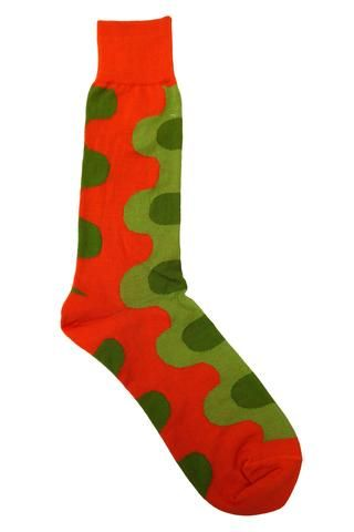 Vannucci Orange and Green Abstract Round Socks