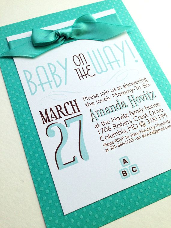 Baby On The Way Baby Shower Invitations in by FoxOnTheMoonLLC Turquoise teal polka dotted baby shower invitations, perfect for a yellow baby shower or unisex baby shower if you are keeping the sex a secret!