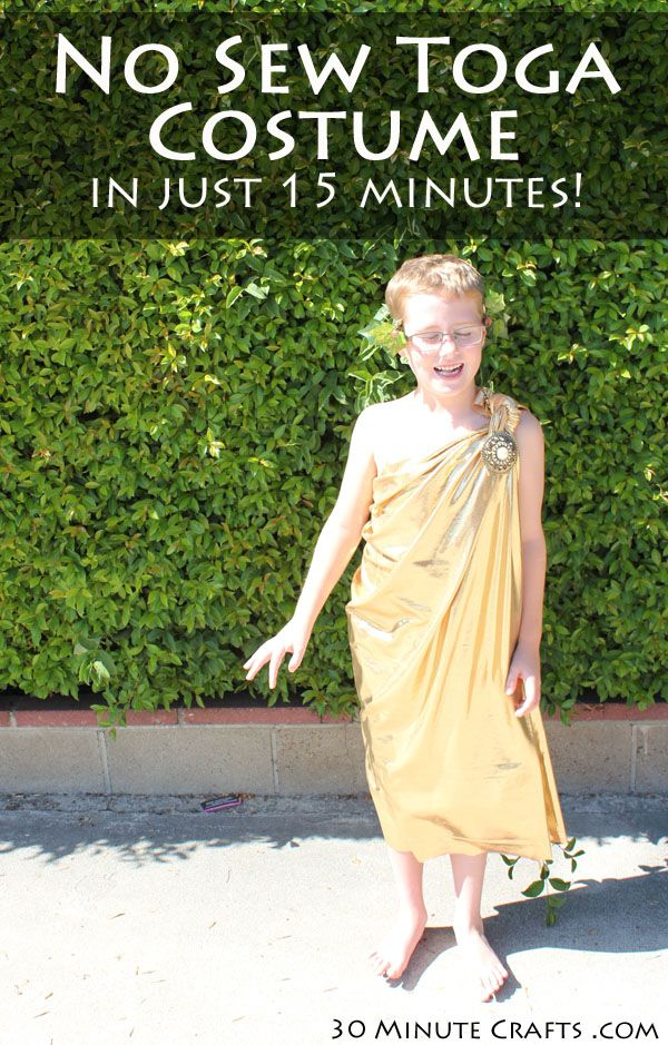 No sew toga costume in 15 minutes 30 minute crafts pinterest make a simple and easy no sew toga costume in less than 15 minutes this easy to make diy toga is perfect for halloween or a toga party solutioingenieria Gallery