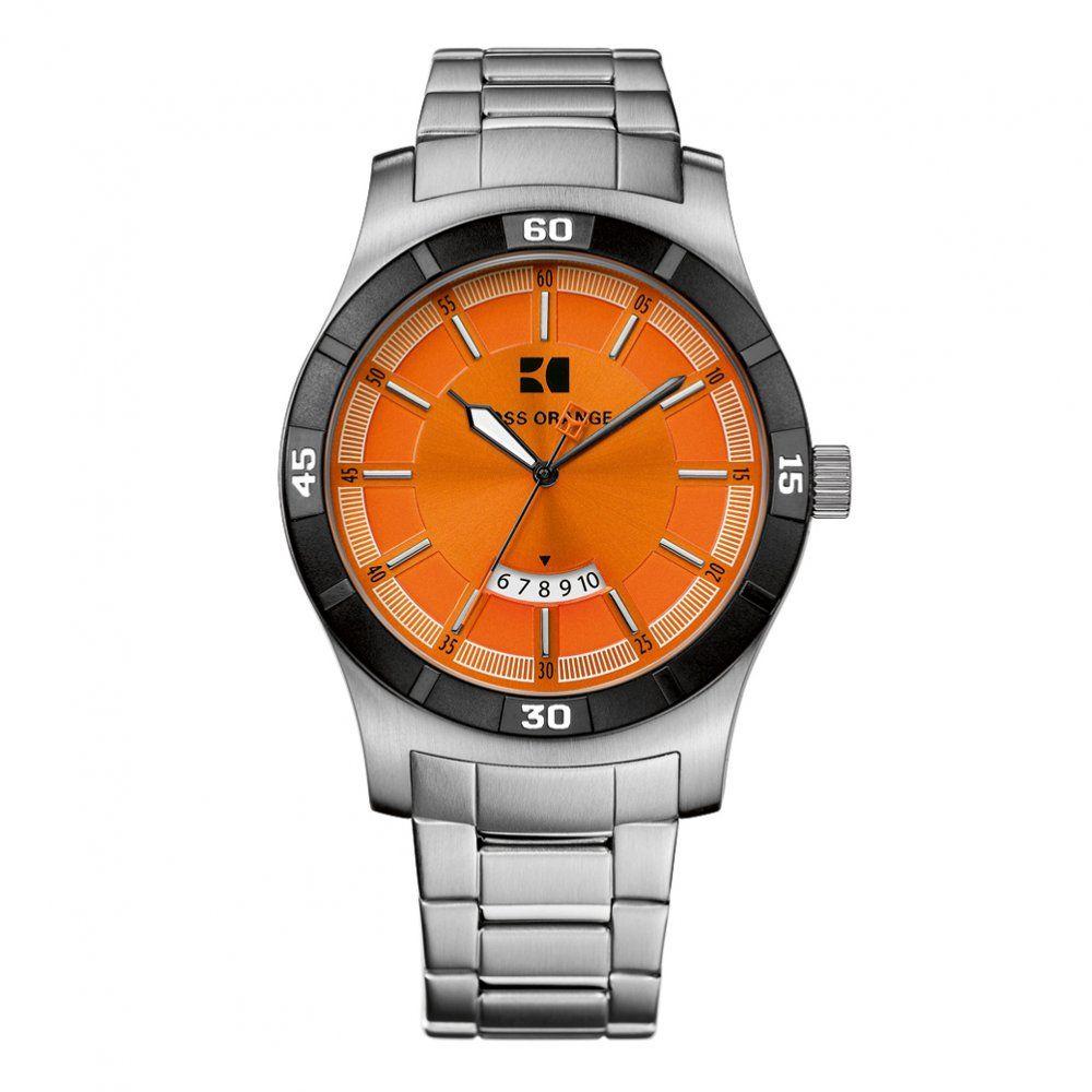 Hugo boss watches mens silver orange face bracelet strap watch watches dial for Hugo boss watches