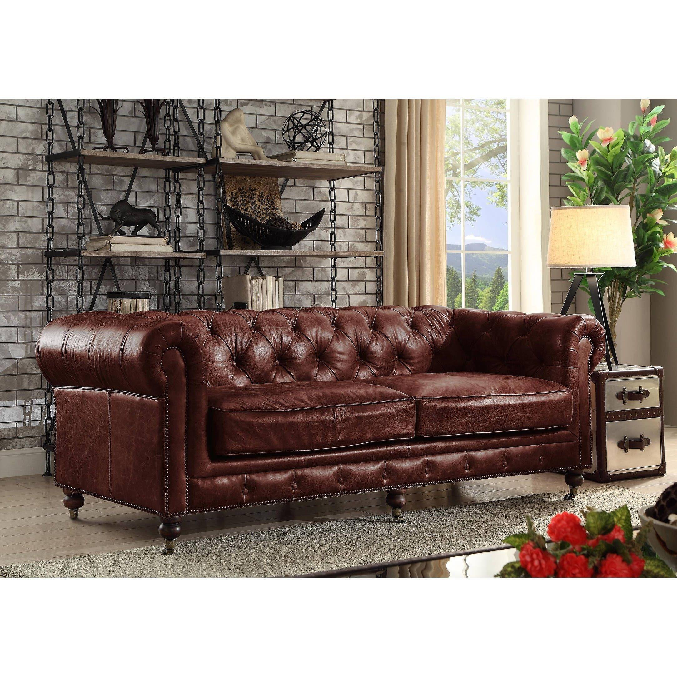 4d0f11cfa455 Acme Furniture Aberdeen Vintage Dark Brown Top Grain Leather Loveseat