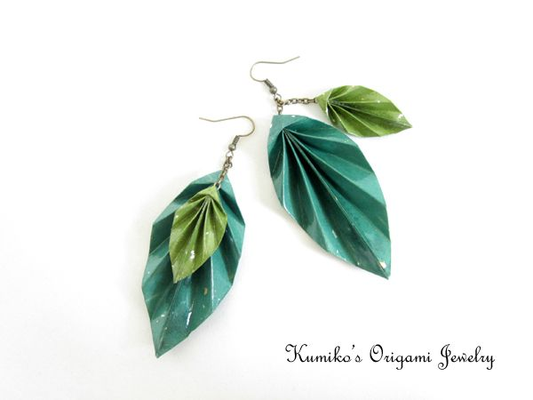 This pair of origami leaf earrings is hand made with Japanese traditional origami paper, called chiyogami. The leaves are coated with a high quality liquid finish, so durable and water proof. www.facebook.com/kumikosorigamijewelry www.etsy.com/shop/KumikosOrigami