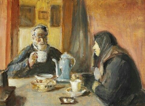 Michael Ancher Interior Med Et Aeldre Aegtepar Ved Kaffebordet 30x42cm Dansk