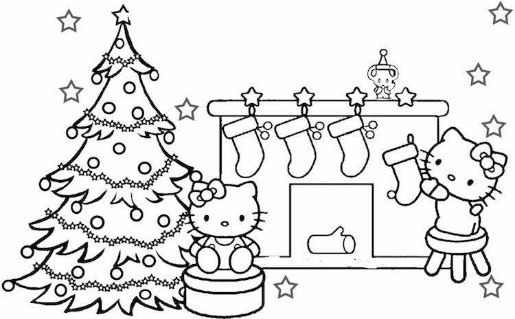 coloriage de Noël à imprimer gratuitement Hello Kitty | Coloriage