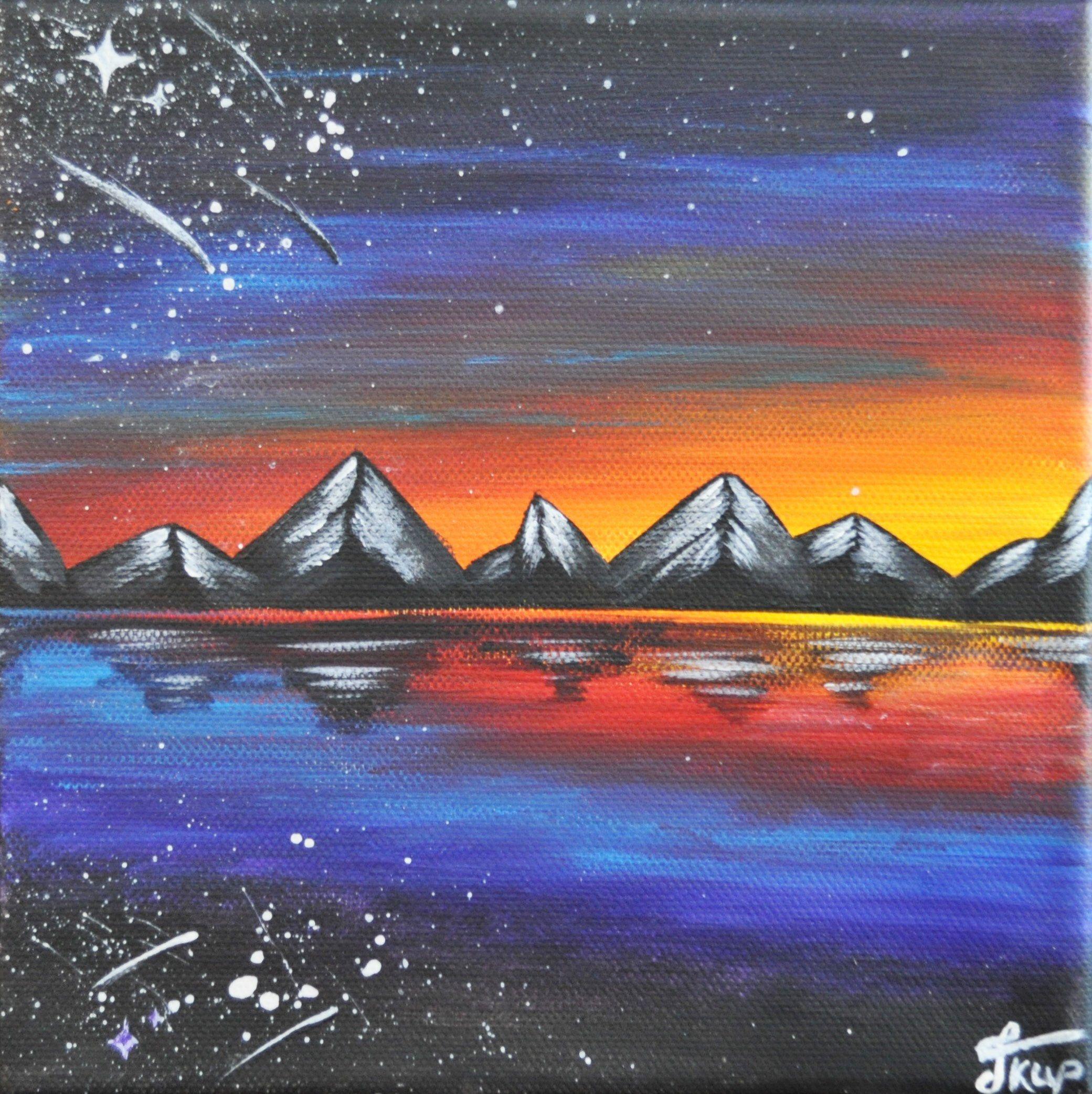 Alaska Art Night Sky Painting Original Painting Mountains Etsy In 2020 Night Sky Painting Alaska Painting Sky Painting