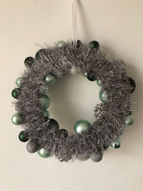 Handmade green/ silver bauble wreath for Christmas / special occasions