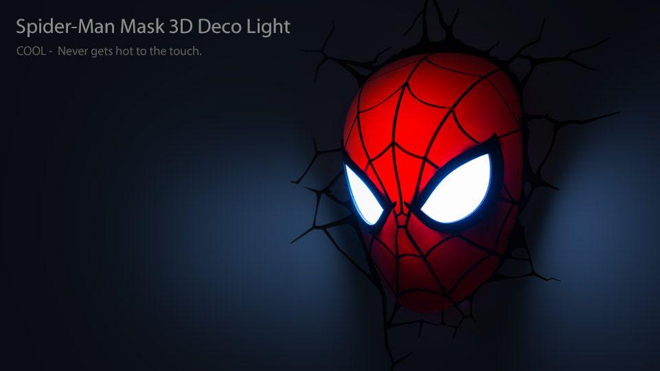 Spider-Man Mask 3D Deco/Night Light from #3DLightFX #spiderman #superheroes