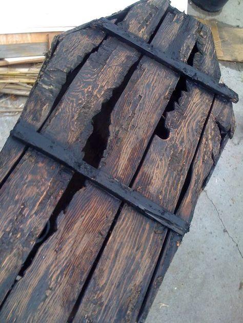 love this distressed wooden coffin Halloween DIY Pinterest