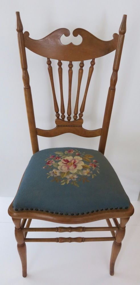 Beautiful Antique Banister Back Accent Chair with Needlepoint Seat Floral  Design #Unknown - Beautiful Antique Banister Back Accent Chair With Needlepoint Seat