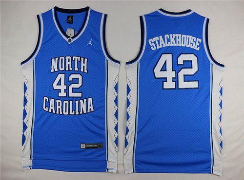 Men's North Carolina Tar Heels #42 Jerry Stackhouse 2016 White Swingman College Basketball Jersey