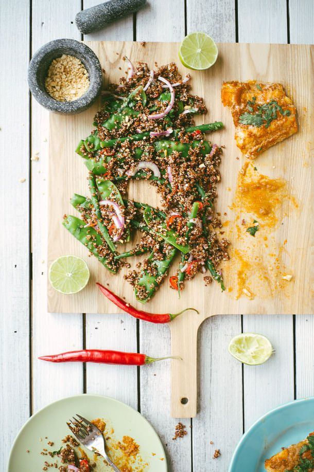 Baked Thai Curry Fish with Quinoa and Greens | (Souvlaki For The Soul)