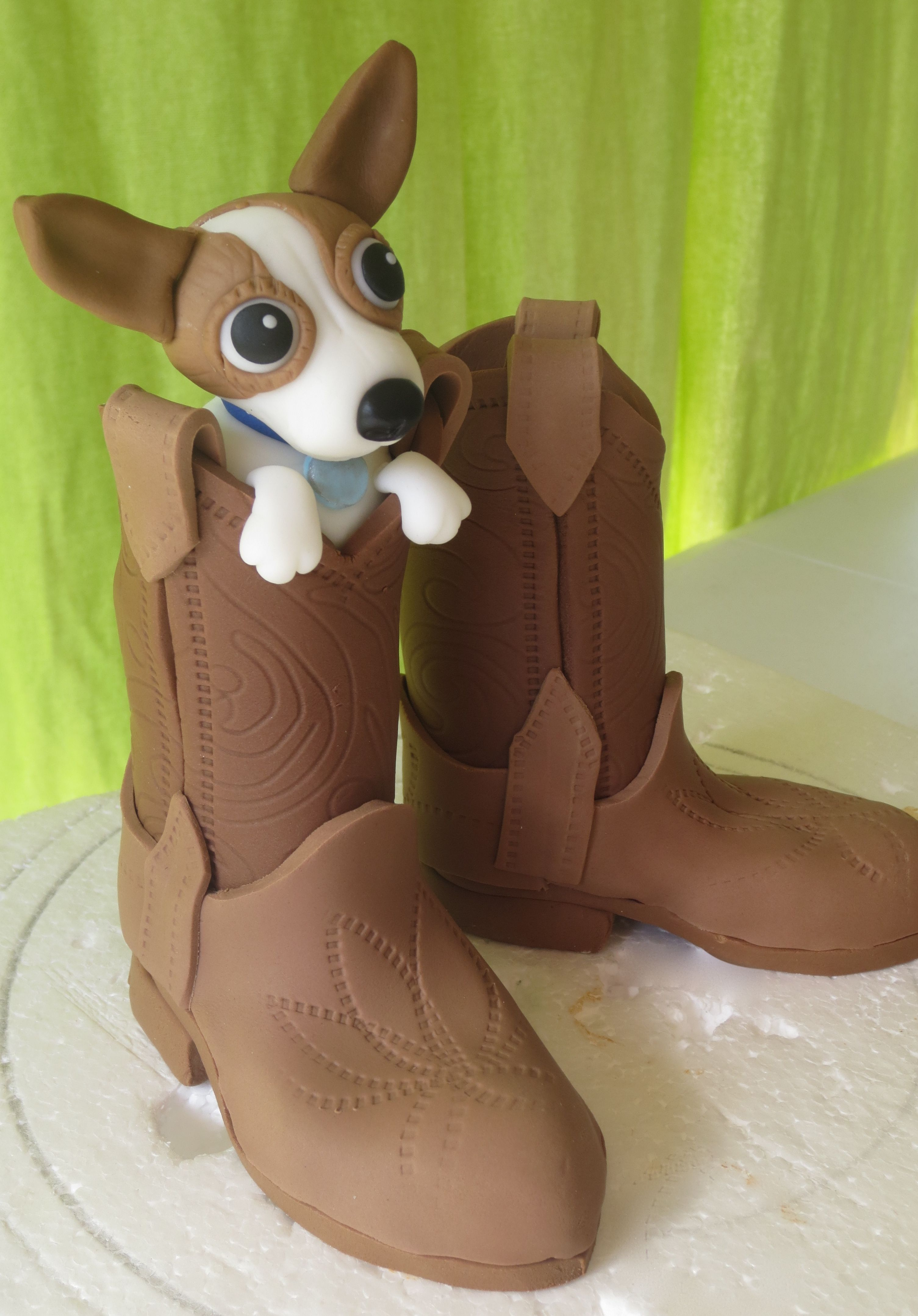 Fondant Cowboy Boots with Dog Inside   Cowboys, Cake and Gum paste