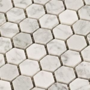 $10.95SF Carrara Hexagon Marble Mosaic Tile - traditional - floor ...