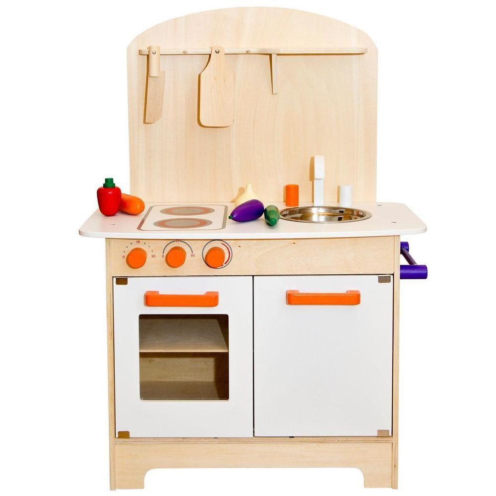 Kinderkuche Aus Holz Mit Zubehor Spielkuche In Spielzeug