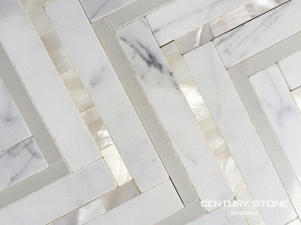 Source Calacatta White Marble And Seashell Herringbone Backsplash Mosaic Tiles On M
