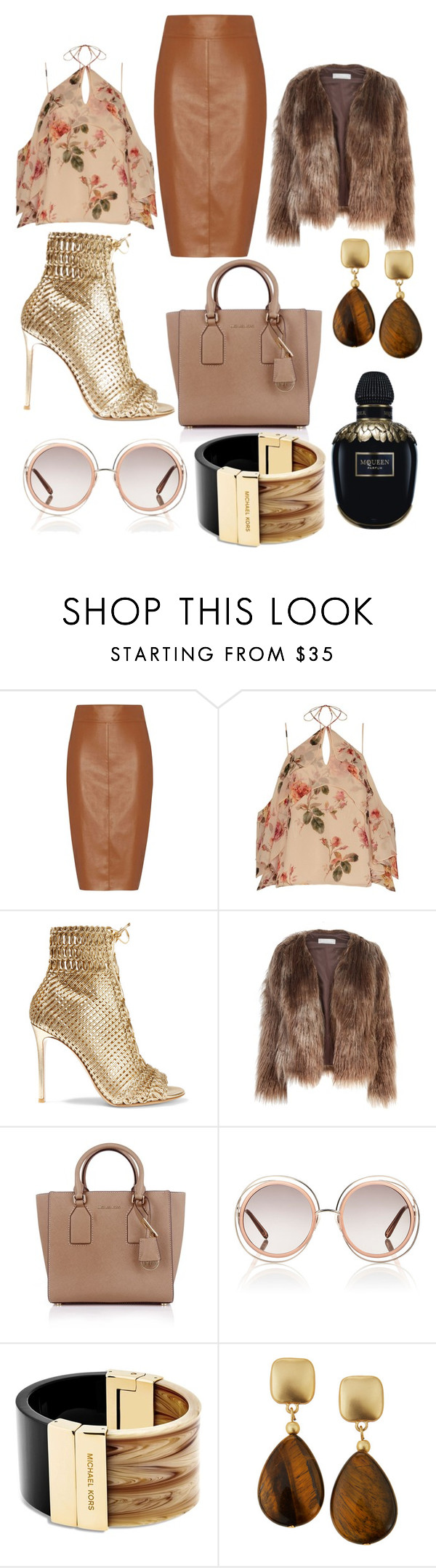 """Untitled #452"" by gwendoline-687 ❤ liked on Polyvore featuring Bailey 44, Exclusive for Intermix, Gianvito Rossi, Related, Michael Kors, Chloé, Kenneth Jay Lane and Alexander McQueen"