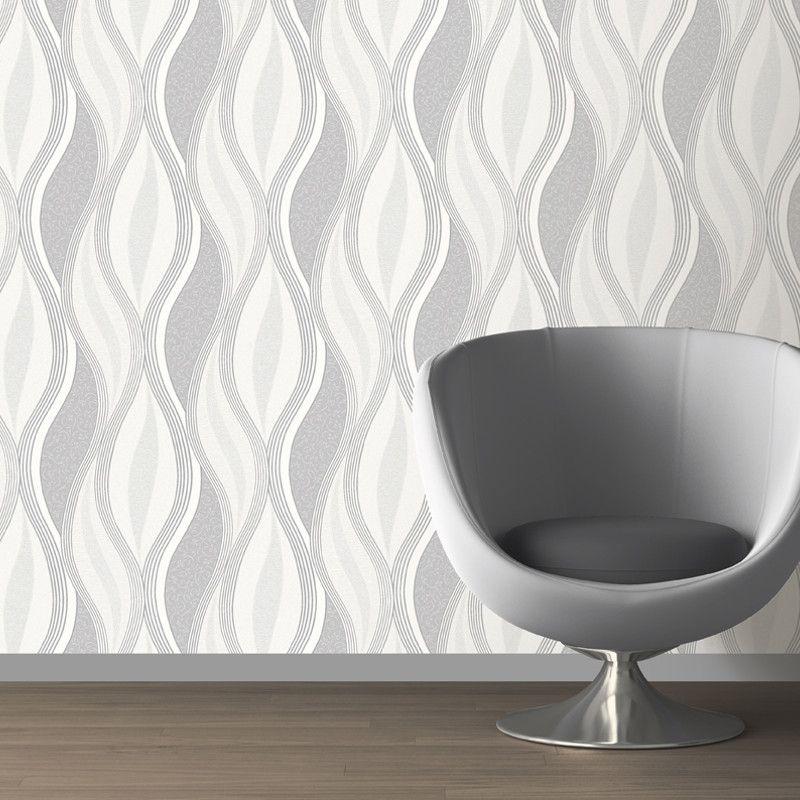 Direct Wallpapers Wave Glitter Wallpaper - Grey