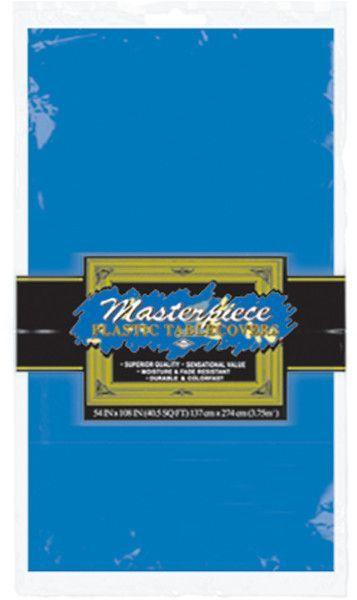 """medium blue plastic round table cover - 84"""" Case of 12"""