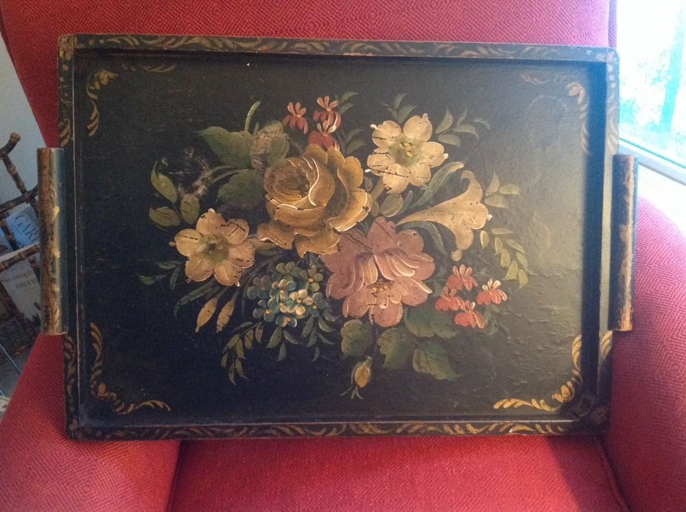 Large Vintage Wooden Handpainted Floral Tole Tray