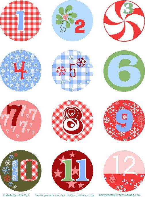 free printable christmas advent calendar number tags von herzen pinterest ziffern. Black Bedroom Furniture Sets. Home Design Ideas