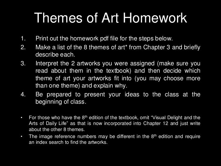 Art130 Themes of Art Homework Assignment