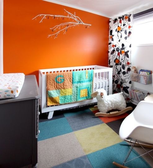Orange Accent Wall Nursery: Greta's Bold, Colorful Abode