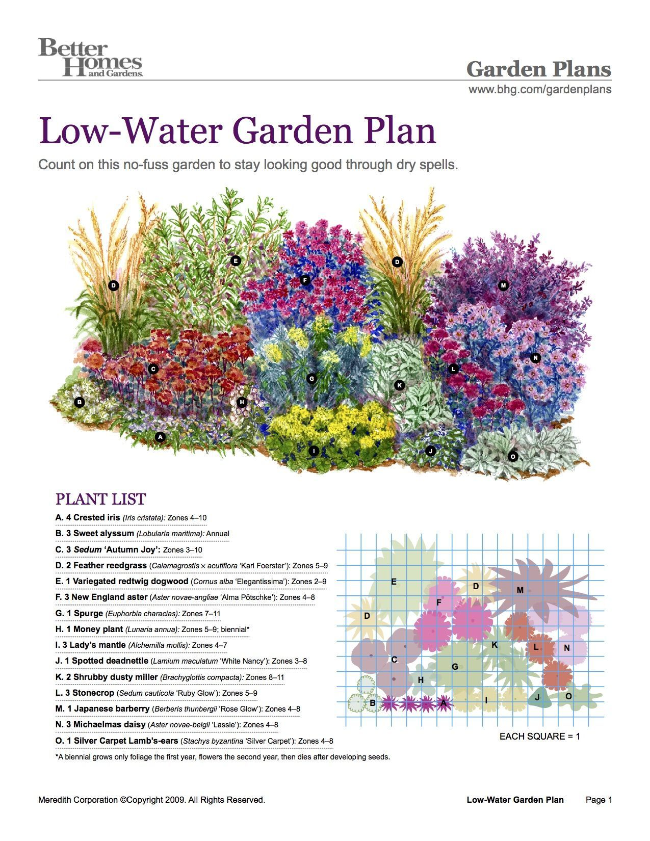 BHG Low-Water Garden Plan #GardeningandLandscaping   Low ...