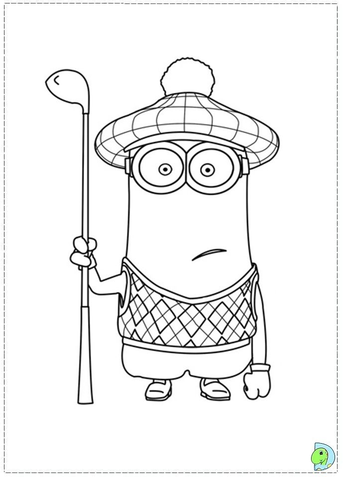 despicable me minion golfer coloring page