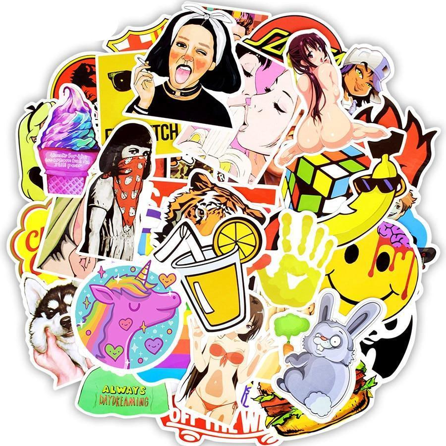 50pcs Colorful Random Graffiti Anime Waterproof Stickers