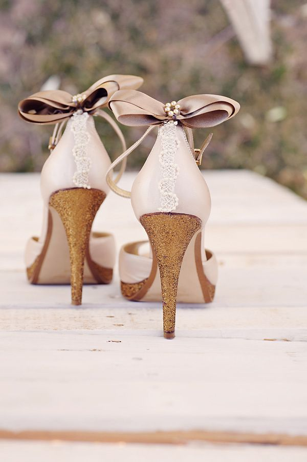 Shoe Inspiration I Shimmery Golden Wedding Heels  Repin via The Wedding Chicks #wedding #bridalshoes #bow