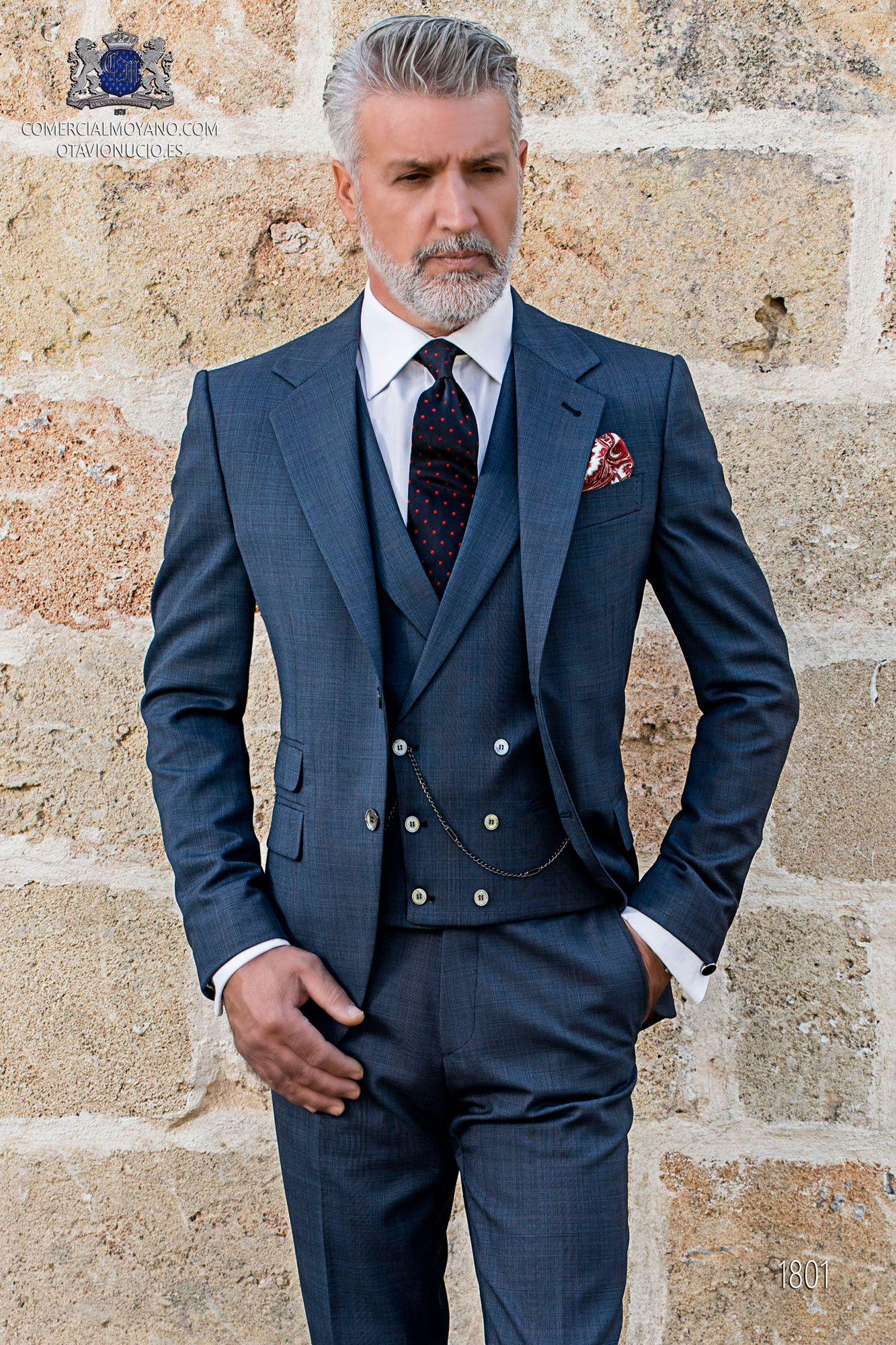 Schottenmuster blaue Herren Anzug Ottavio Nuccio Gala
