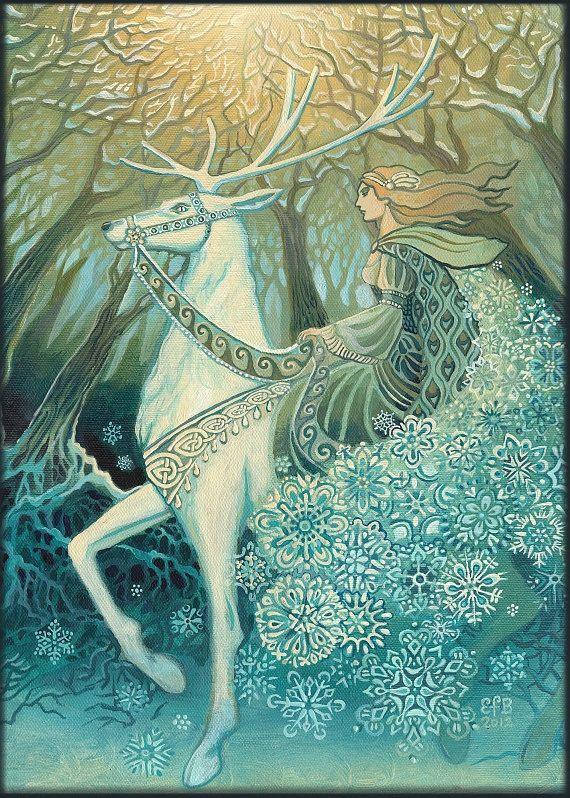 Snow queen 5x7 greeting card fine art print pagan mythology bohemian snow queen winter solstice yule goddess 5x7 greeting card m4hsunfo
