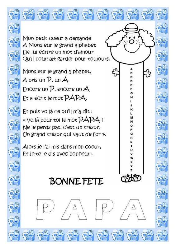 Carte Poème Pour La Fête Des Papas Comptine Pinterest