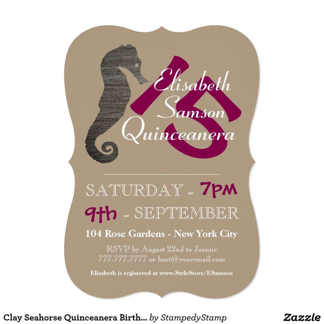 Clay seahorse quinceanera birthday card birthday invitations clay seahorse quinceanera birthday card m4hsunfo