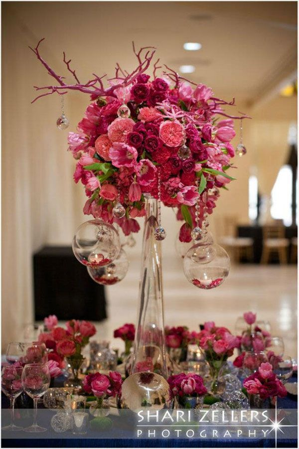wedding table design inspiration hot pink blue and silver with a touch of green