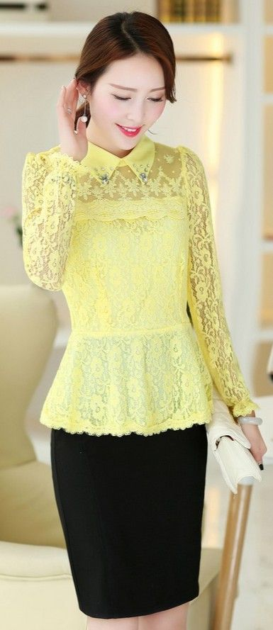 Asian Lace Blouse Gathered Waistline YRB0637