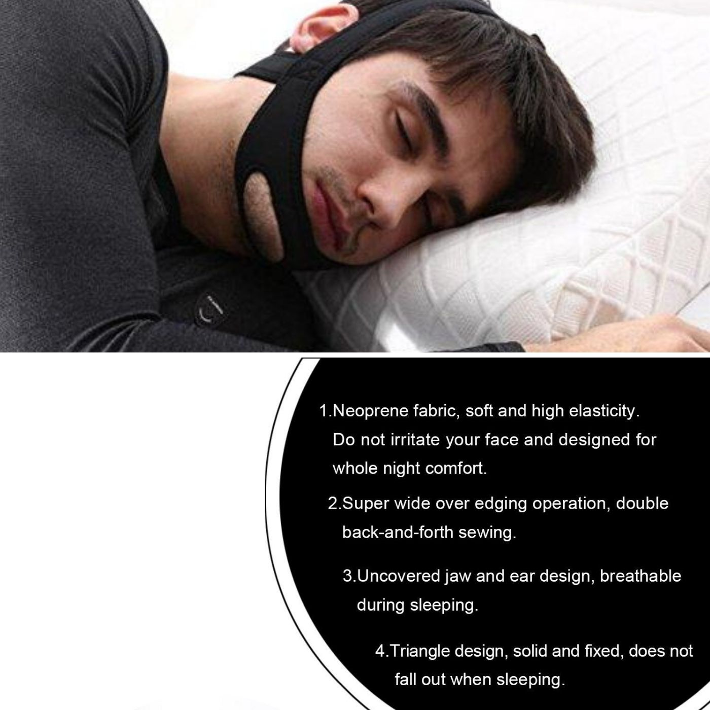 Anti snoring chin strap belt for stopping snoring