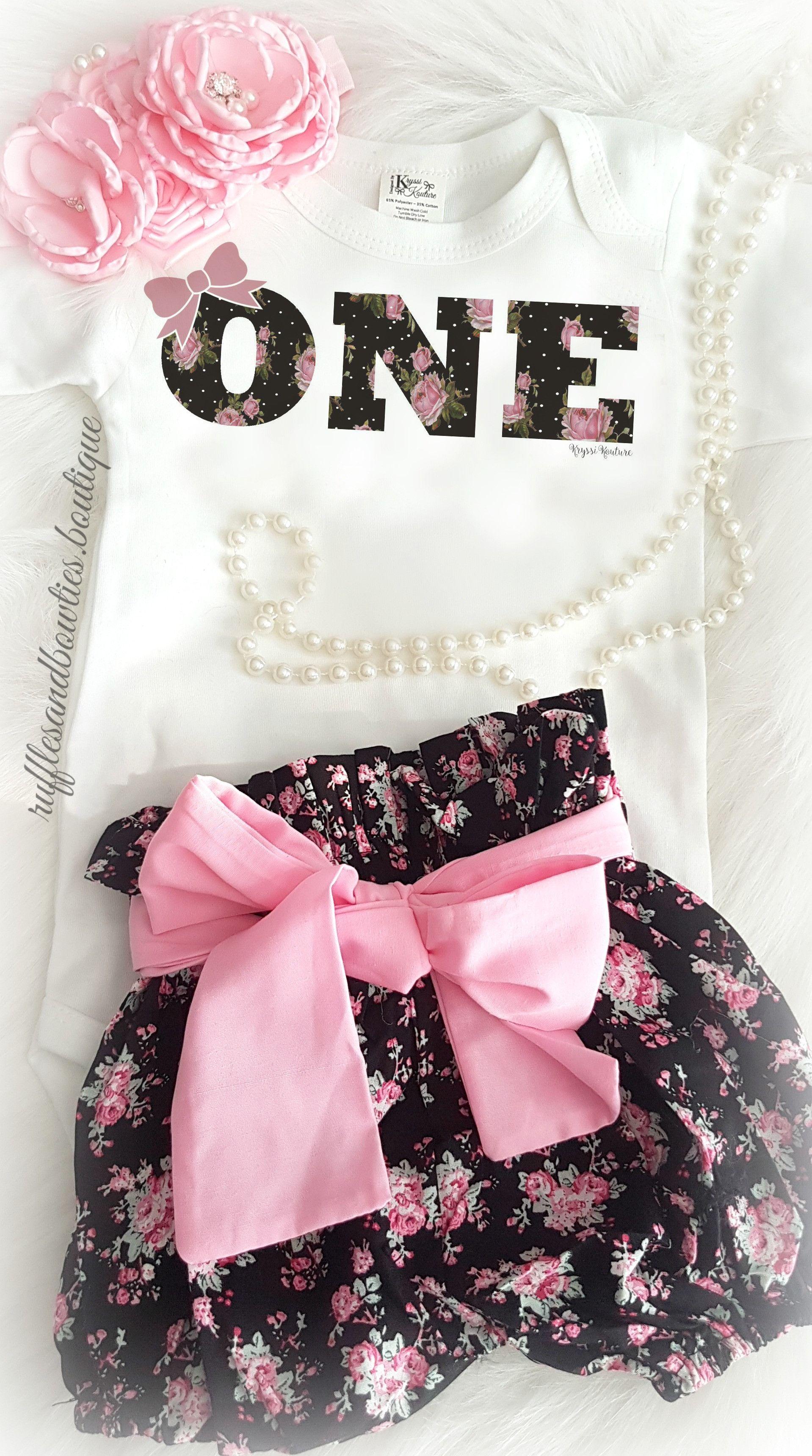 Vintage Black Pink Floral Birthday ONE Shirt