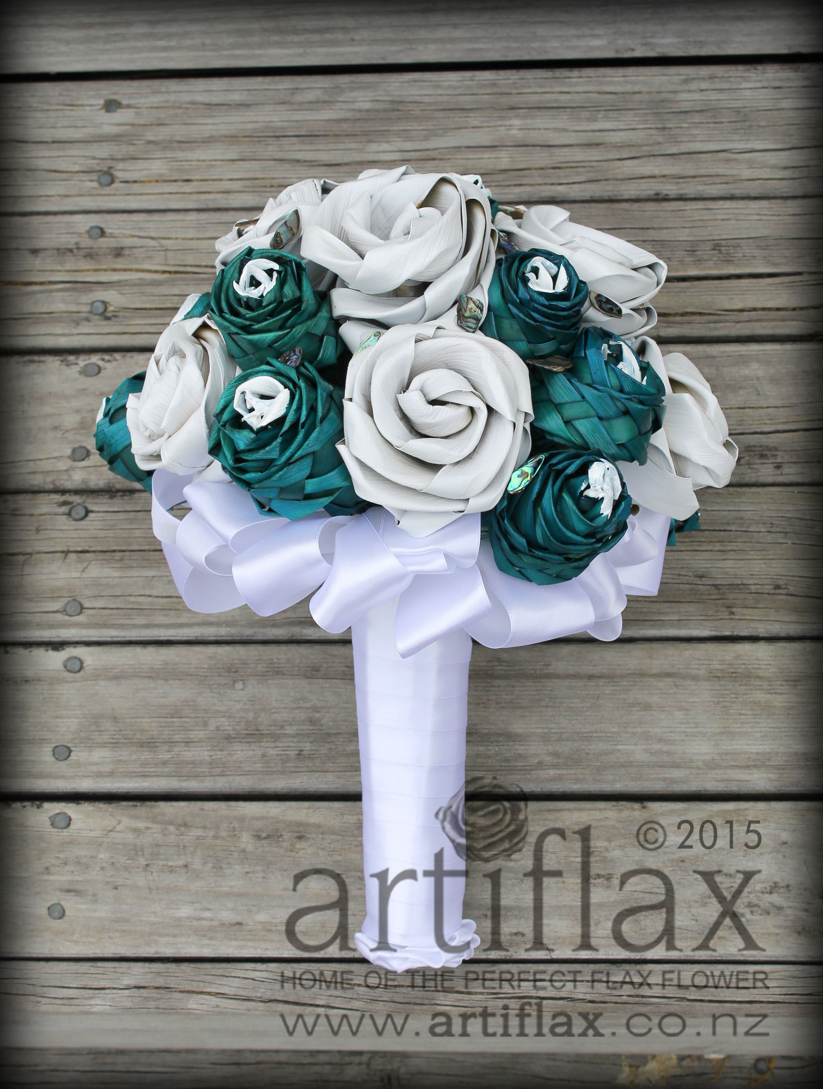 Flax Flower Bridal Bouquet By Artiflax Turquoise And White Flax