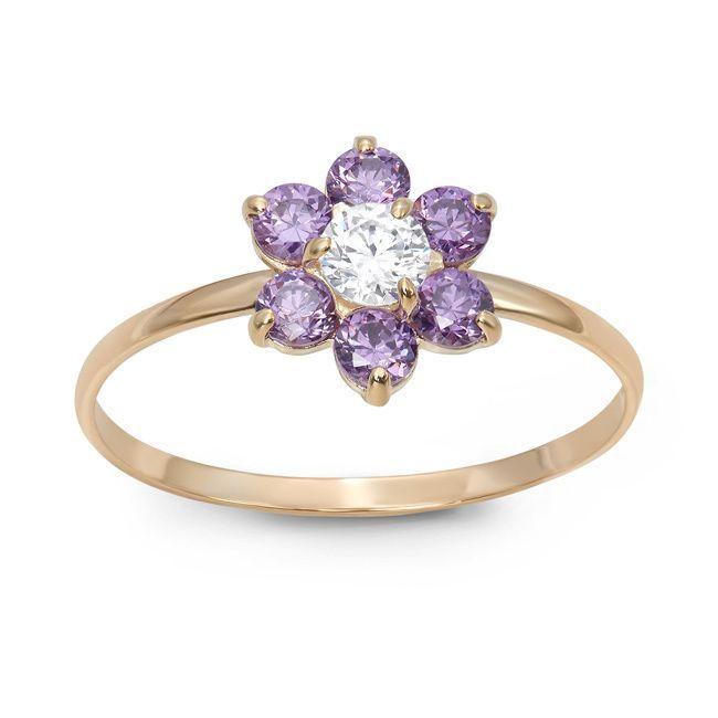 Gioelli Designs Junior Jewels 10k Gold Multi-color Cubic Zirconia Flower Ring