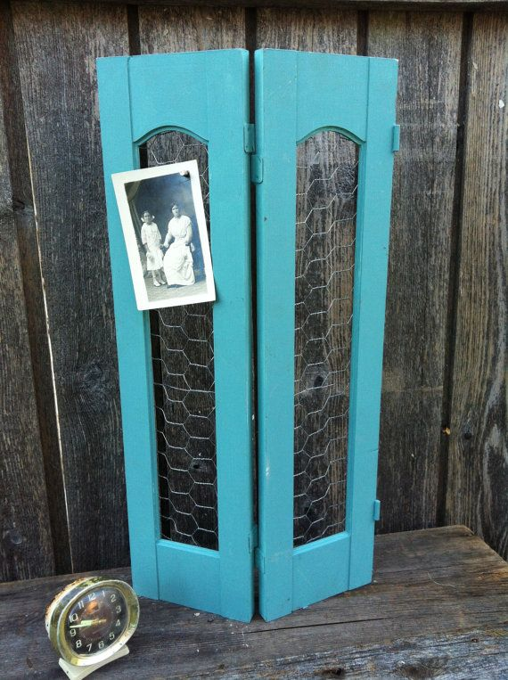Upcycled Chalk Painted Wood Shutter Chicken Wire Home Decor ...