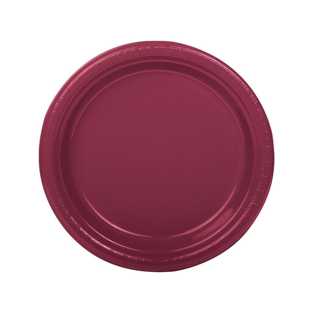 Burgundy Plastic Dinner Plates