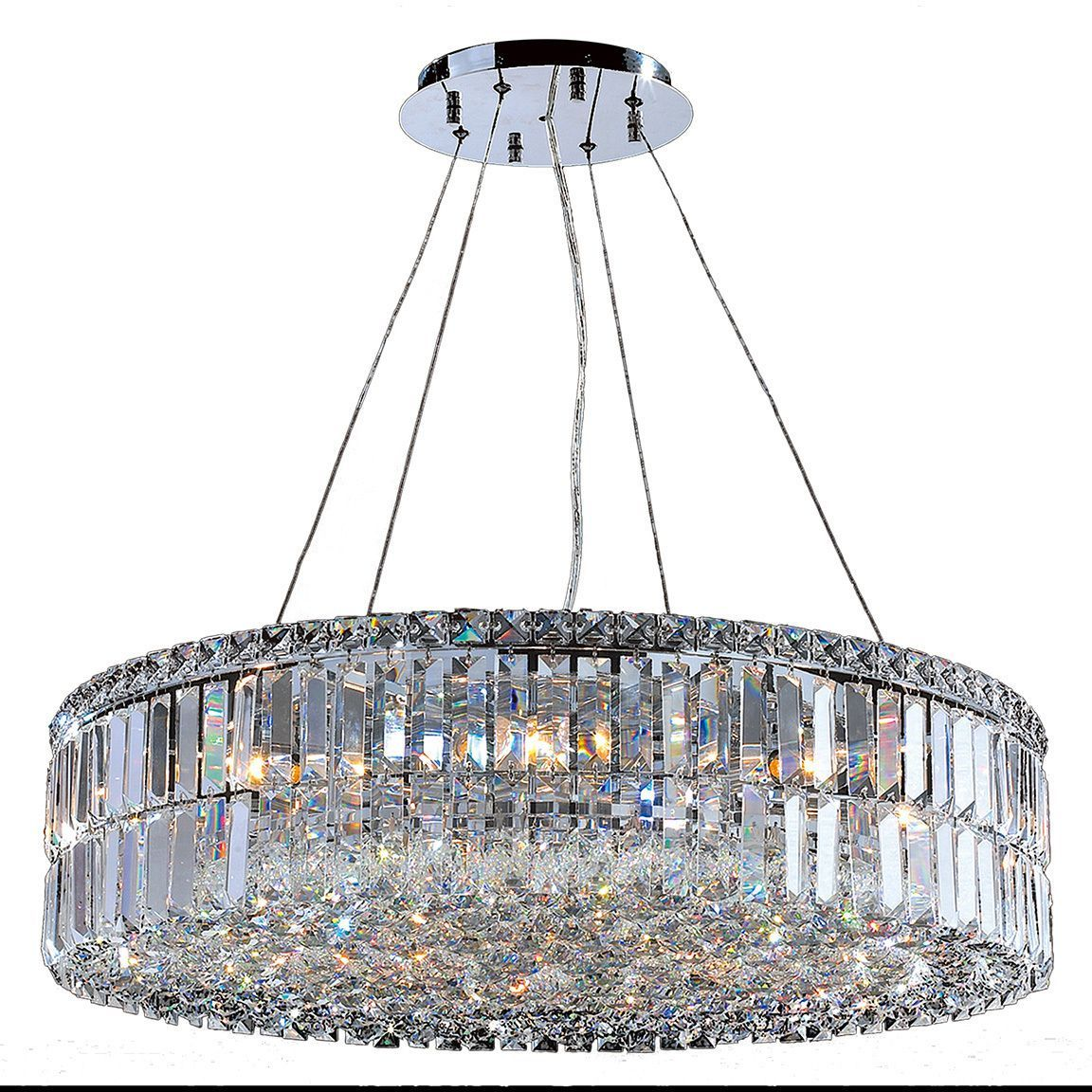 Contemporary 12 Light Chrome Finish And Faceted Clear Crystal Large Chandelier Measures 28 Inches In Diameter X 75 High
