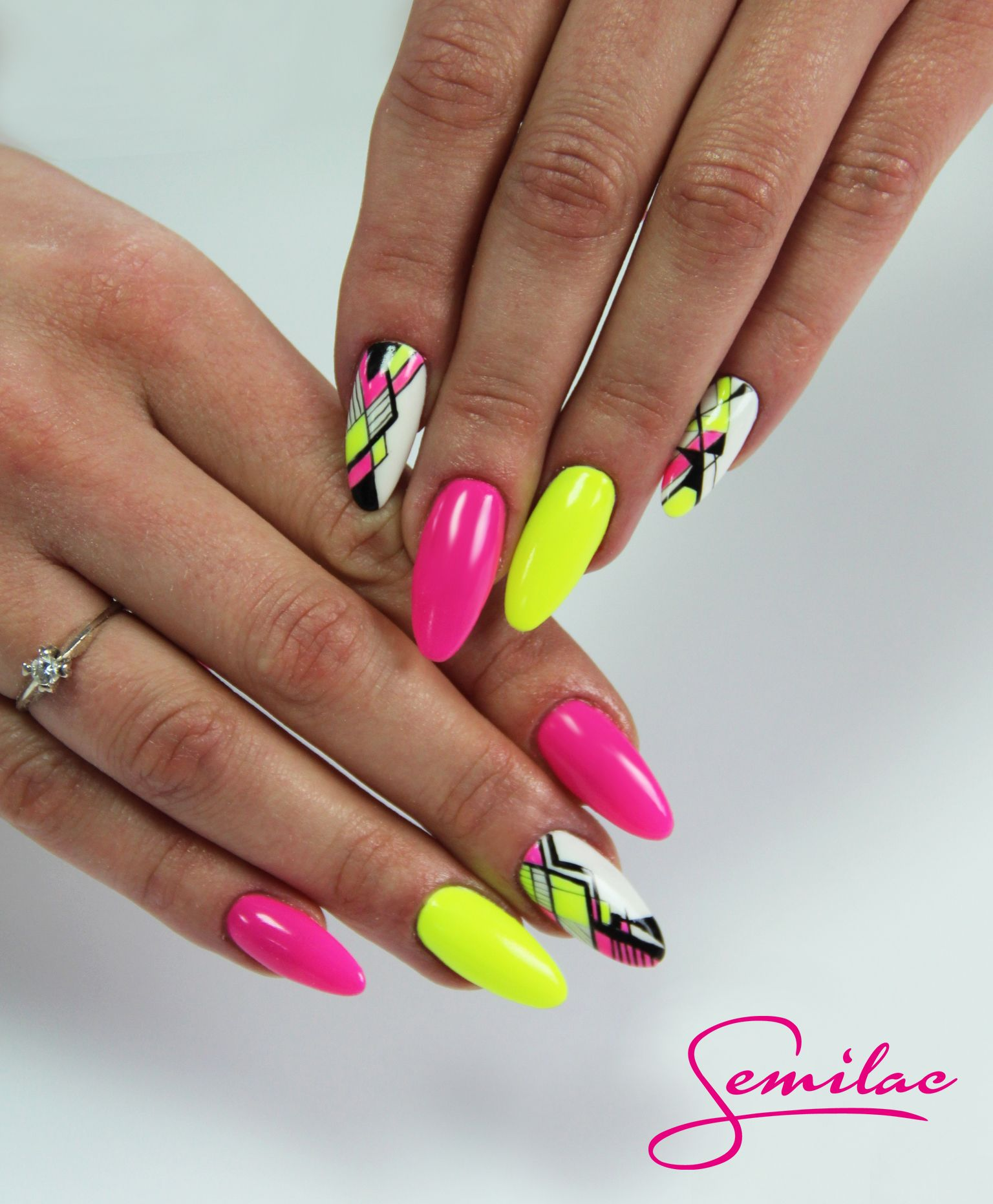 Nails Geometricnails Neon Flo Semilac Pinkdoll Rozowe