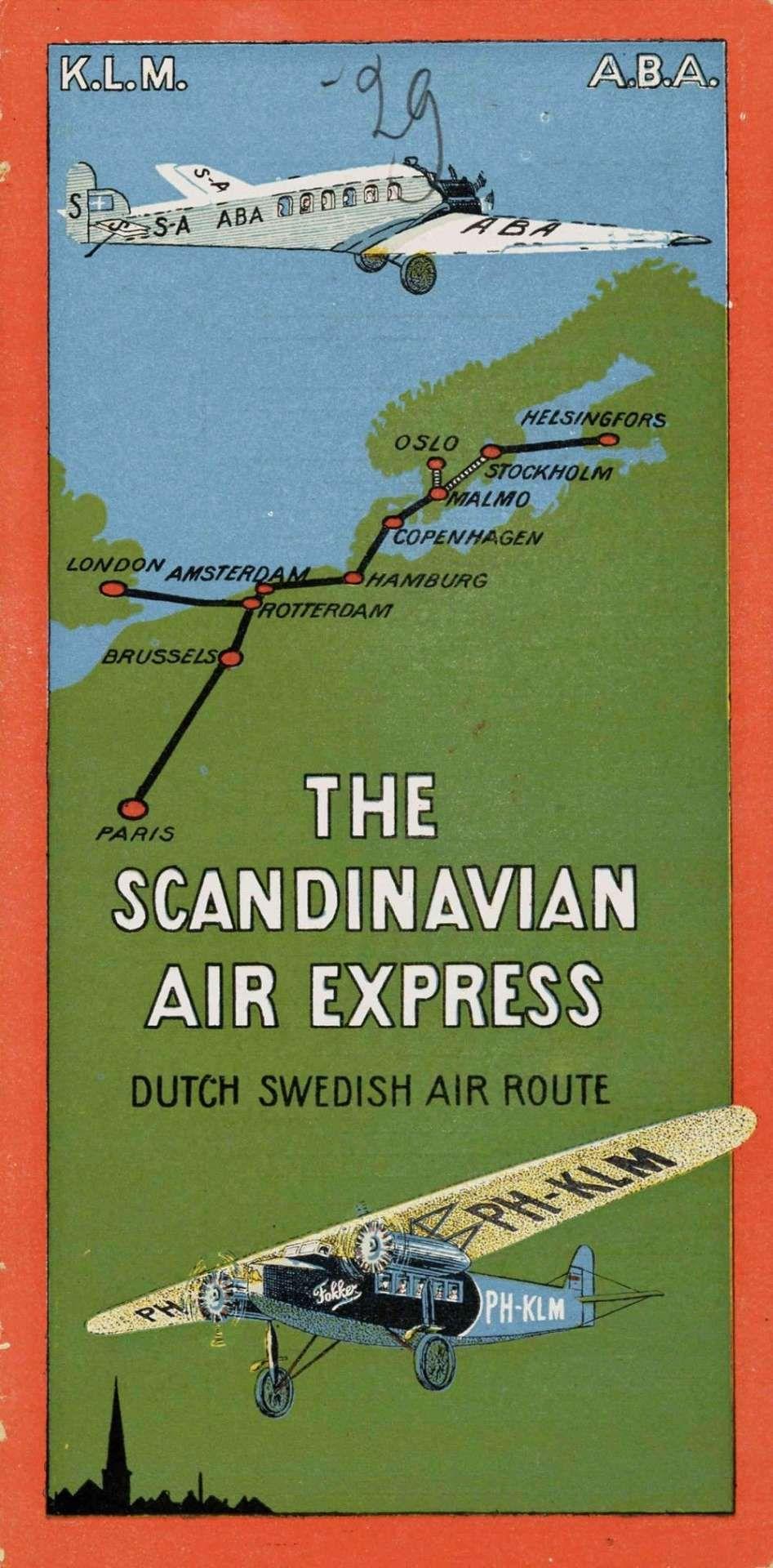 1929 K L M A B A The Scandinavian Express Dutch Swedish Air Route 1000x2027 Jpg 947 Vintage Travel Posters Vintage Airline Posters Vintage Advertising Posters