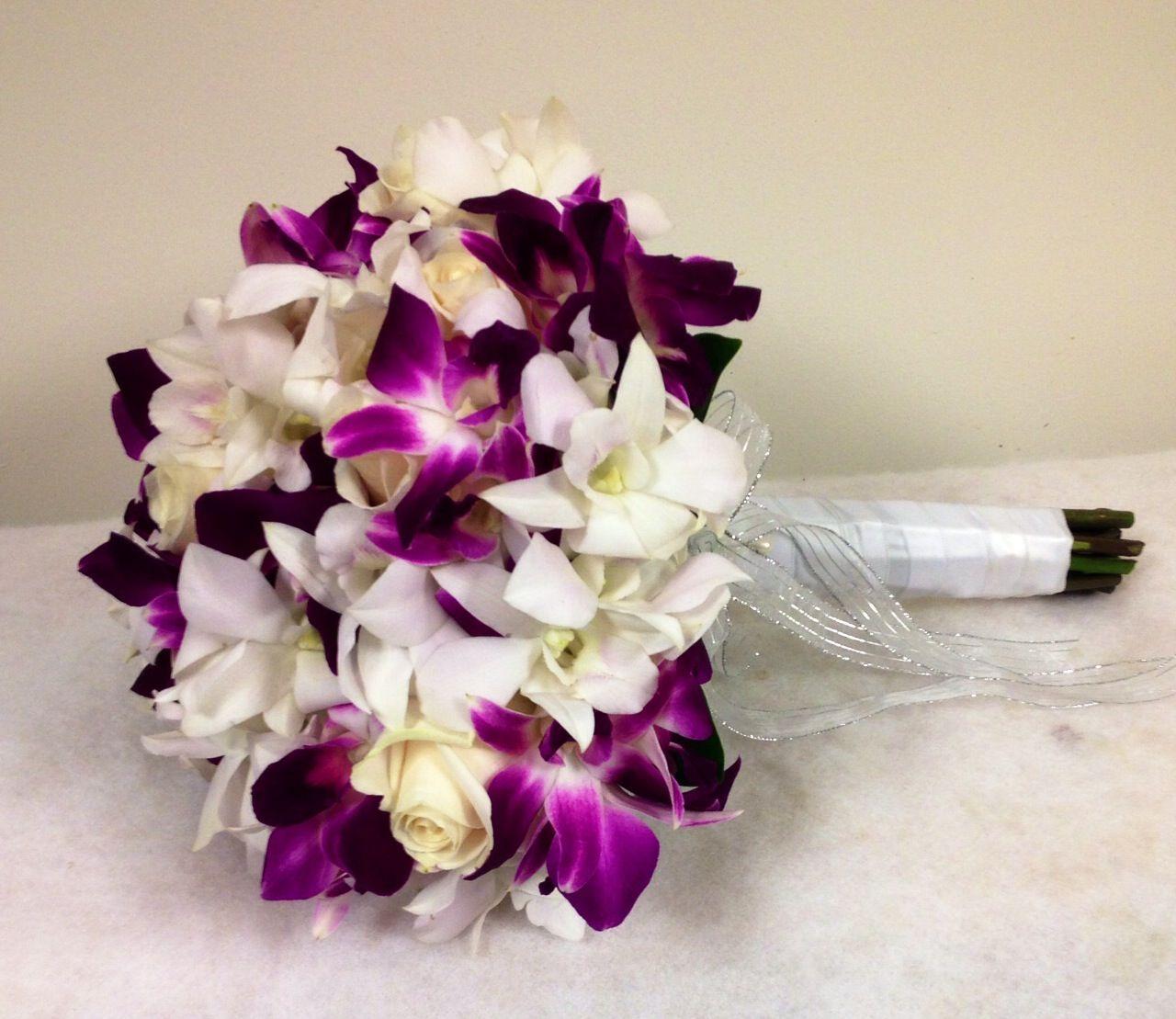 Pretty Purple Orchids White Rose Bouquet White Orchid Bouquet