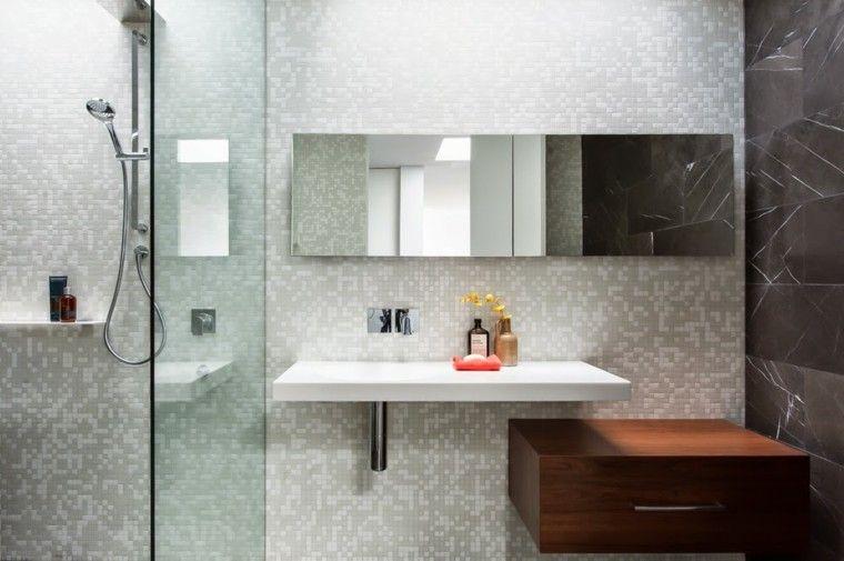 pared de mosaico en el baño moderno baño Pinterest Baño