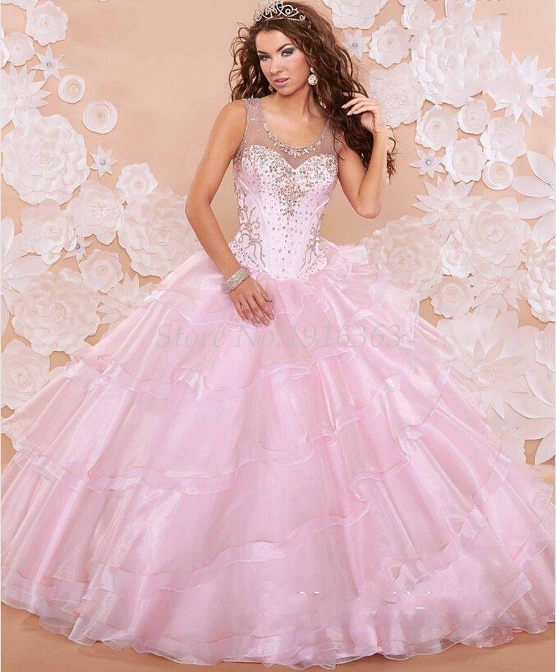Barato Rosa 2016 elegante Quinceanera Vestidos frisado strass ...